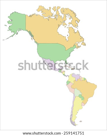 Americas - Highly detailed editable political map. - stock vector