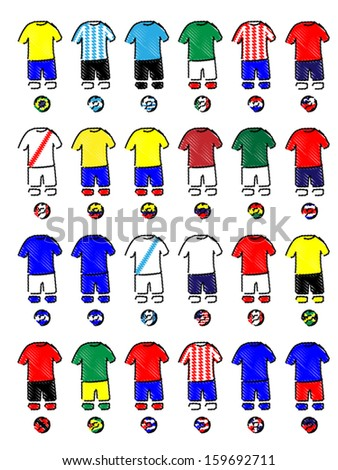 Americas Jerseys Football Kits Pencil Drawing Style - stock vector