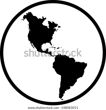 Americas map vector icon  - stock vector
