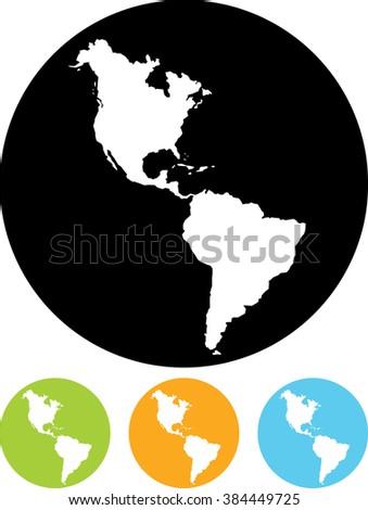 Americas map vector icon - stock vector
