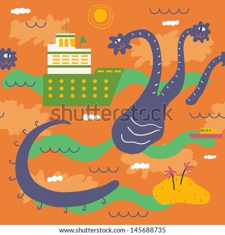 Amiable sea monster playing with ships. Vector seamless background - stock vector