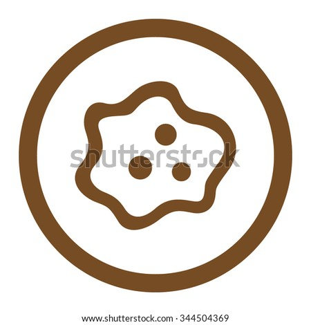Amoeba vector icon. Style is flat rounded symbol, brown color, rounded angles, white background. - stock vector
