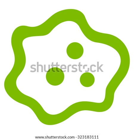 Amoeba vector icon. Style is flat symbol, eco green color, rounded angles, white background. - stock vector