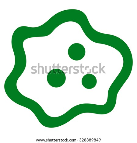 Amoeba vector icon. Style is flat symbol, green color, rounded angles, white background.