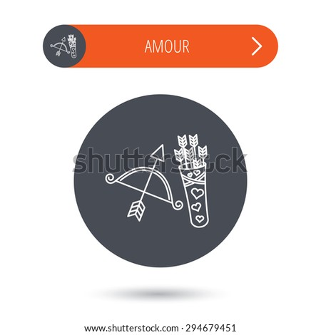 Amour arrows and bow icon. Valentine weapon sign. Gray flat circle button. Orange button with arrow. Vector