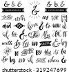 Ampersands and catchwords. Handwritten calligraphy and lettering collection. Hand drawn design elements. - stock vector