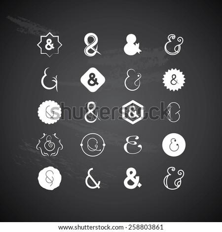 Ampersands on black background - stock vector
