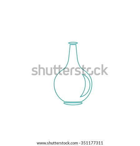 Amphora Outline vector icon on white. Line symbol pictogram