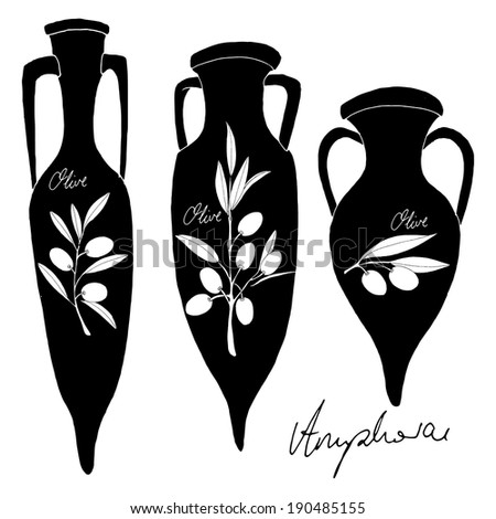 Amphorae with olive - stock vector
