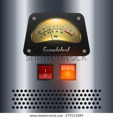 amplifier metal panel with indicator - stock vector