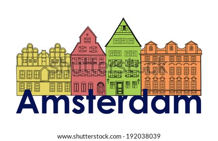Amsterdam canal houses. Netherlands symbol. Travel Europe icon. - stock vector