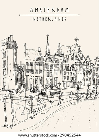 Amsterdam City Architecture Bridge Bicycles Skyline Traditional Old Houses Vector