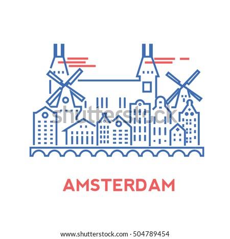amsterdam city architecture retro vector illustration เวกเตอร สต อก