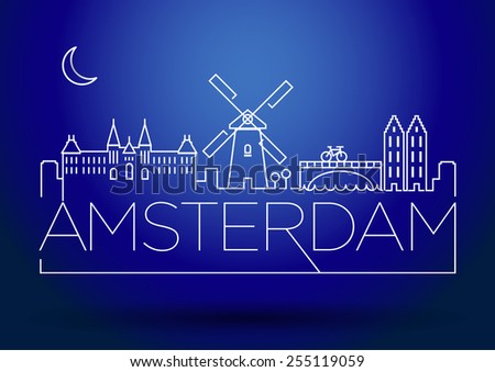 Amsterdam City Line Silhouette Typographic Design - stock vector