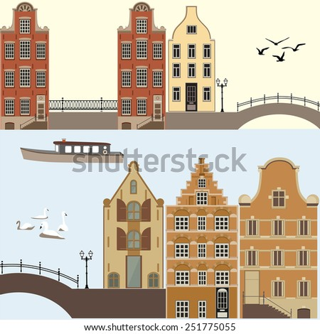 Amsterdam cityscape. City illustration.  - stock vector