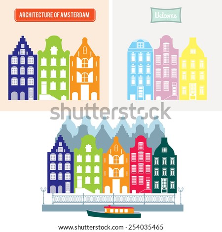 Amsterdam cityscape. Skyline. Silhouette of traditional Dutch houses - stock vector