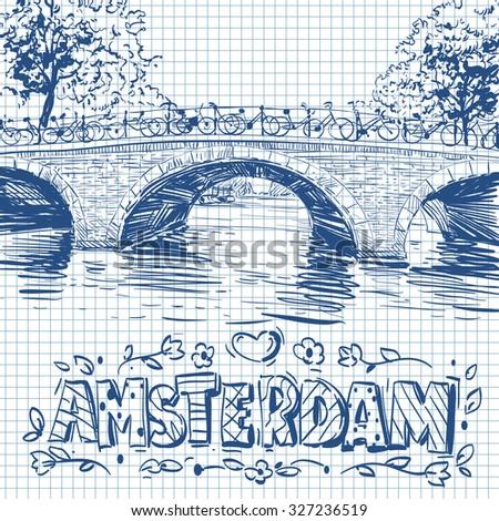 Amsterdam hand drawn,city sketch vector illustration - stock vector