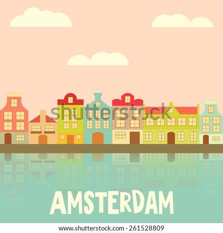 Amsterdam. Holland Card with Colorful Houses and Canal. Vector Illustration. - stock vector