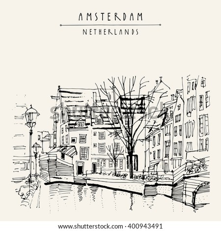 Amsterdam, Holland, Netherlands Europe. View of old center with bicycles. Dutch traditional historical buildings. Hand drawing. Travel sketch. Book illustration, postcard or poster template in vector - stock vector