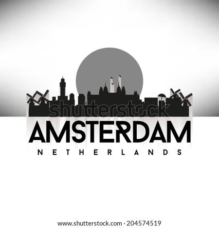 Amsterdam Holland Skyline Silhouette Black design, vector illustration. - stock vector