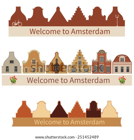 Amsterdam houses. Silhouette of buildings Typical Holland architecture. - stock vector