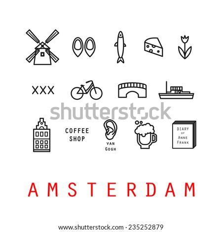 Amsterdam icons. Holland. Isolated. - stock vector