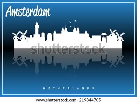 Amsterdam, Netherlands, skyline silhouette vector design on parliament blue background. - stock vector