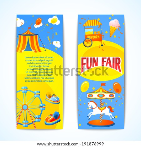 Amusement entertainment carnival fun fair vertical banners advertising leaflets isolated vector illustration - stock vector
