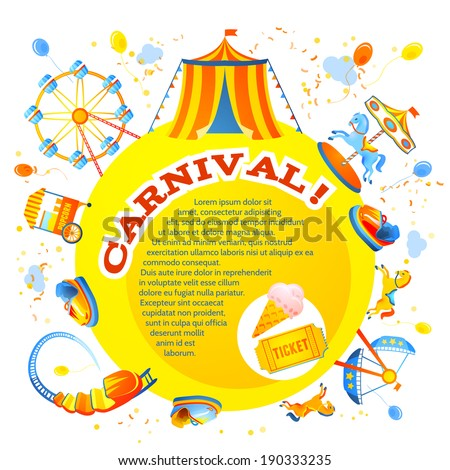 Amusement entertainment carnival theme park design invitation flyer vector illustration - stock vector