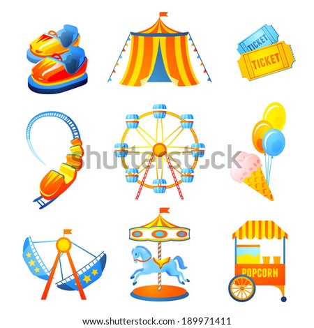 Amusement entertainment park icons set with ferris wheel rollercoaster marry-go-round isolated vector illustration - stock vector