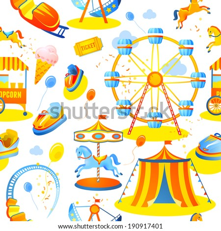 Amusement entertainment park seamless pattern with tent cars rides vector illustration - stock vector