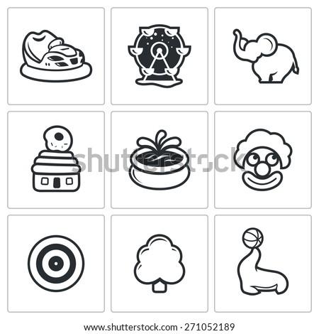 Amusement icons: bumper cars, carousel, elephant, house donut, fountain, clown,  shooting gallery, park, circus. Vector Illustration. - stock vector