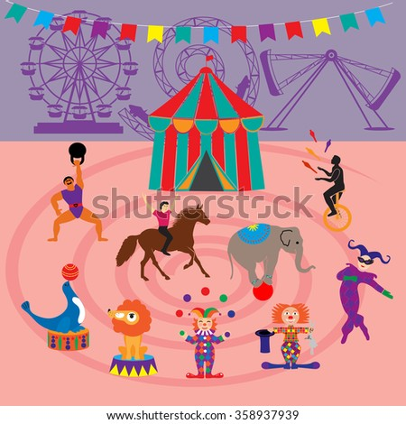 Amusement Park and circus   icons  - stock vector