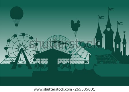 Amusement park background  - stock vector