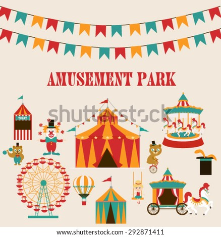 Amusement park Birthday party - stock vector