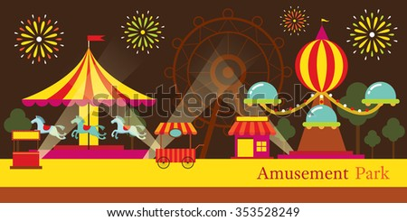 Amusement Park, Carnival, Fun Fair, Theme Park, Circus, Night Scene - stock vector