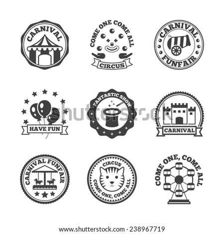 Amusement park carnival funfair family fun label black set isolated vector illustration - stock vector