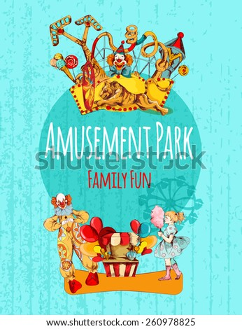 Amusement park circus festival family fun hand drawn poster vector illustration - stock vector