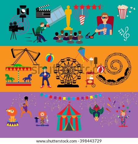 Amusement Park. Culture and Art vector icons.Carousel - stock vector