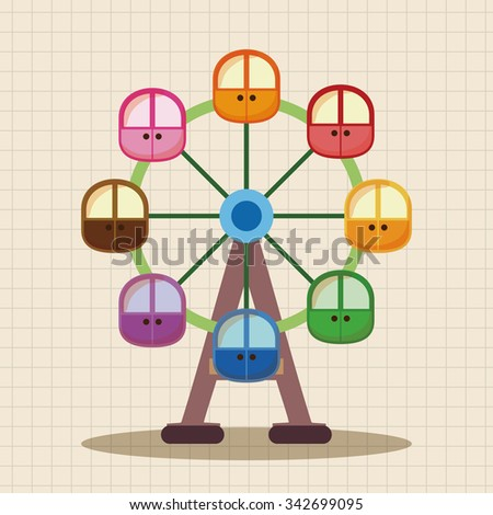 Amusement park facilities theme elements - stock vector