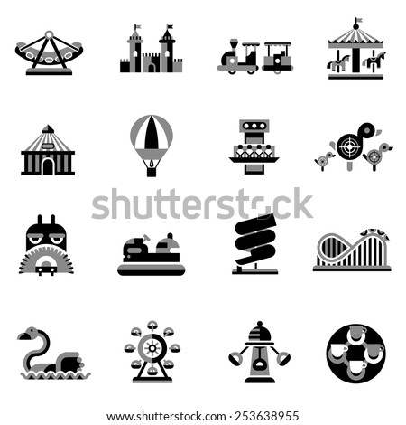 Amusement park fairground games and attractions icons black set isolated vector illustration - stock vector