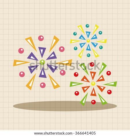 Amusement park firework theme elements - stock vector
