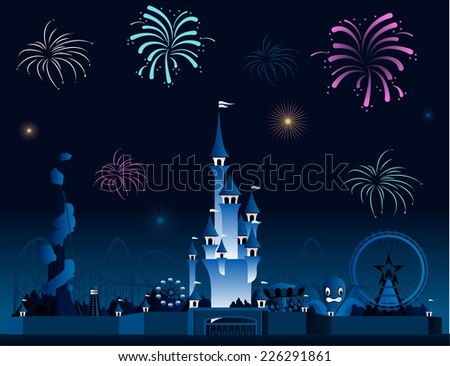 Amusement park fireworks celebration cartoon illustration - stock vector