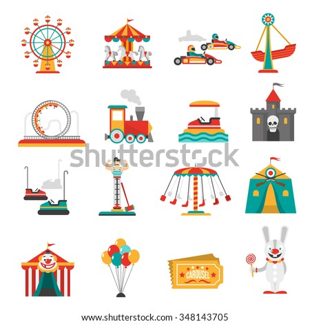 Amusement park flat icons set with family attractions isolated vector illustration - stock vector