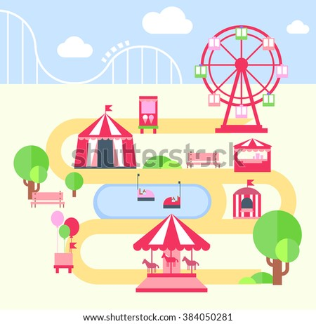 Amusement Park, FLat Vector Illustartion elements for infographics - stock vector