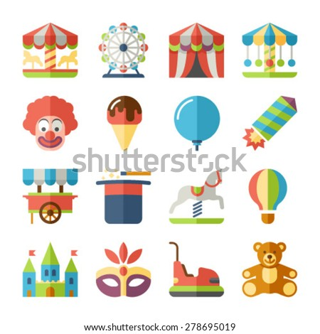 Amusement park fun fairground carnival icons flat set isolated vector illustration - stock vector