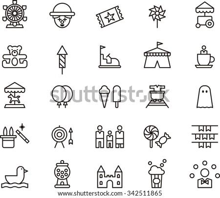 AMUSEMENT PARK icons - stock vector