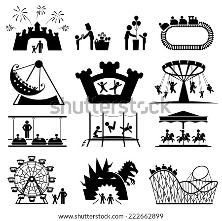 Amusement Park icons. Children play on playground. Pictogram icon set.