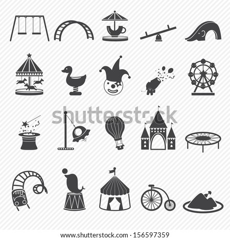Amusement Park icons isolated on white background  - stock vector