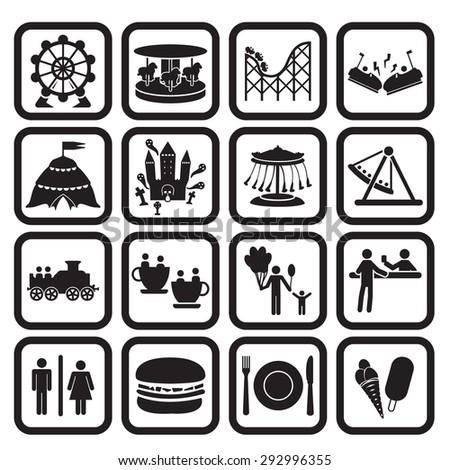 Amusement park icons set - stock vector